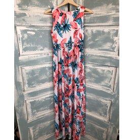 Tropical Print Sleeveless Maxi Dress