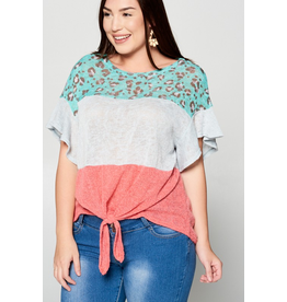 Curvy Collection - Animal Print Color Block Top
