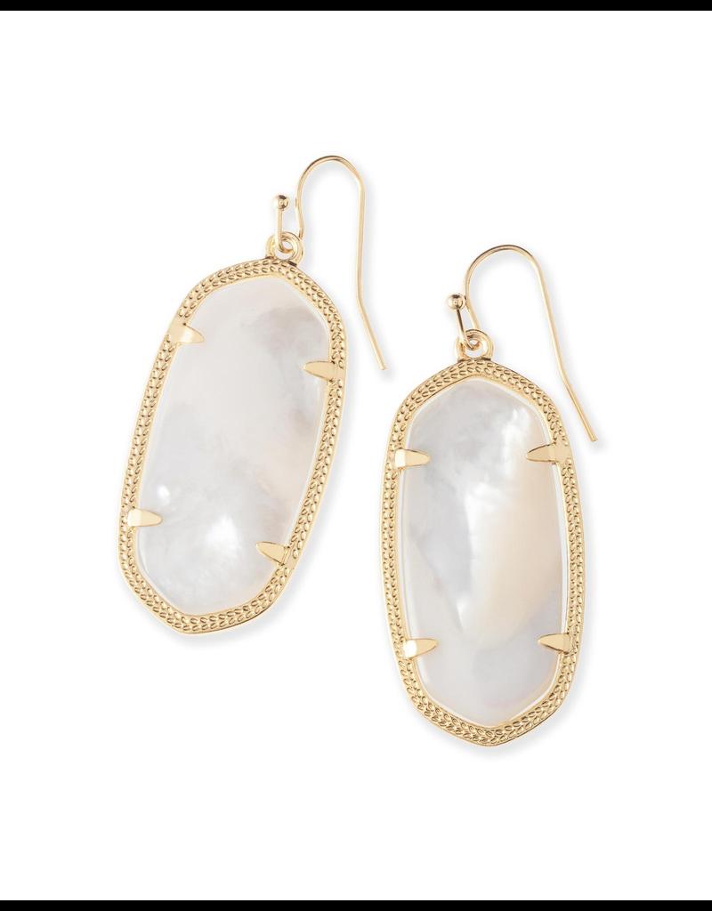Kendra Scott Elle Earrings Gold Ivory Mother of Pearl