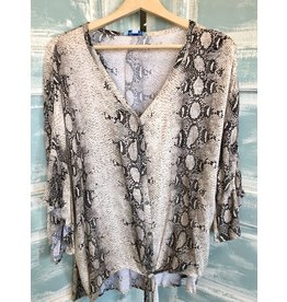 The Curvy Collection - Sleeve Snake Print Button Front Top