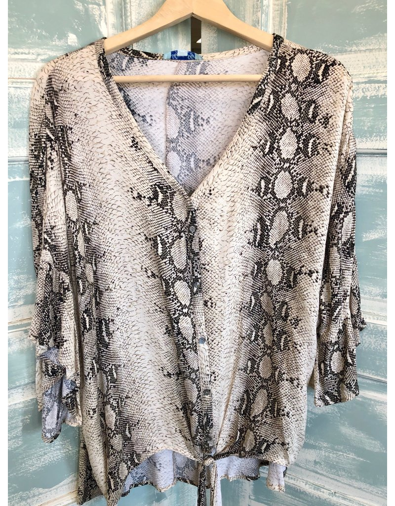 The 3/4 Sleeve Snake Print Button Front Top