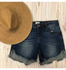Mid Rise Long Inseam Denim Shorts