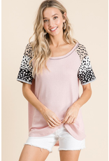 Courageous Spotted Leopard Waffle Knit Top