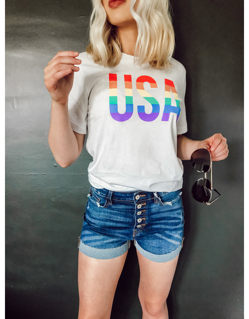 USA Rainbow Graphic Tee