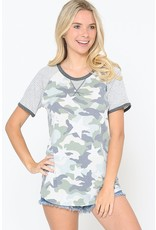 Search For Perfection Camo and Star Printed Top