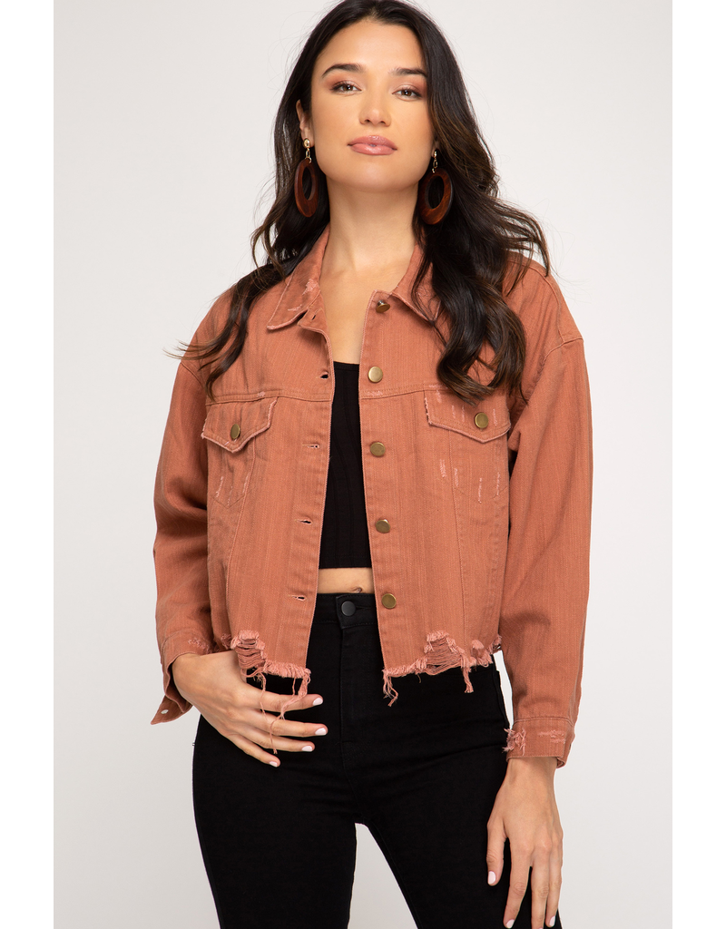 The Edge Of Glory Distressed Denim Jacket