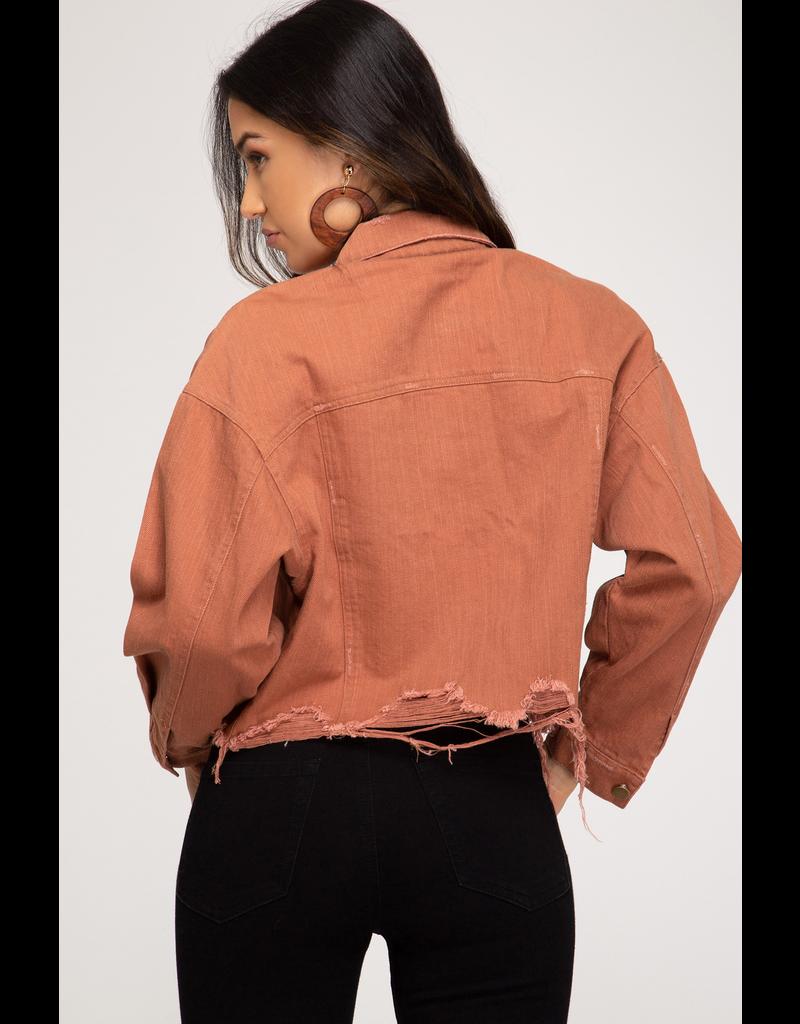 Edge Of Glory Distressed Denim Jacket