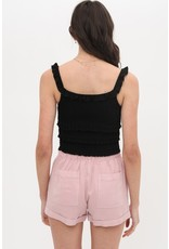 In Sync Smocked Crop Top