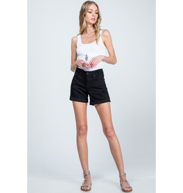 Popularity High Rise Denim Shorts - Black