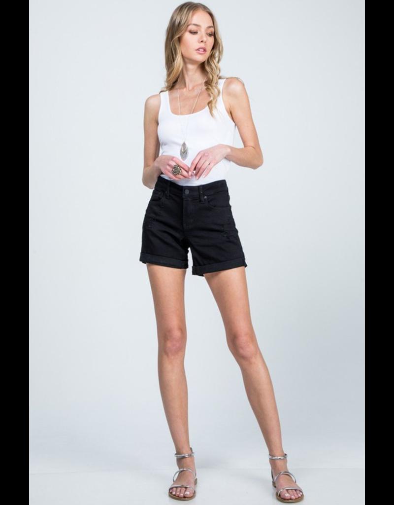 The Popularity High Rise Denim Shorts - Black