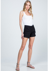 The Popularity High Rise Denim Shorts - Black