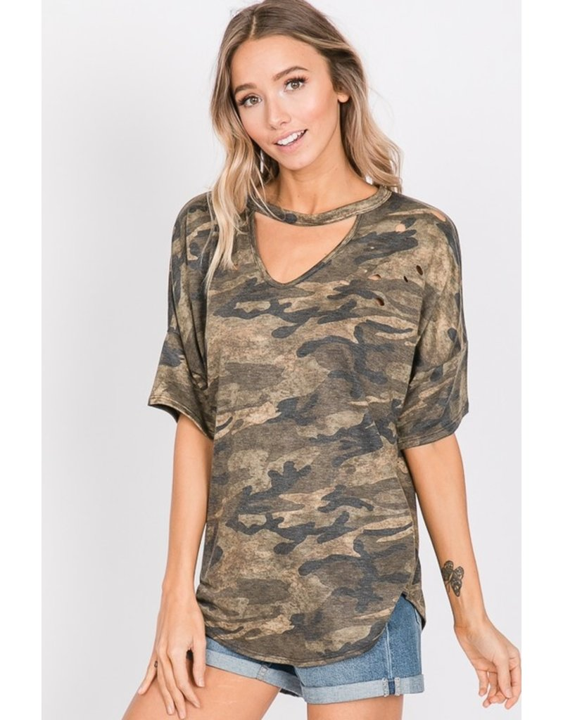 Can't You See The Love Camo Distressed Top