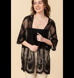 The Dawn To Dusk Lace Crochet Kimono - Black