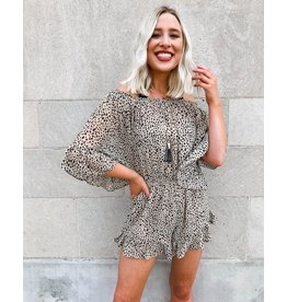 Best Wishes Off The Shoulder Spotted Leopard Print Romper