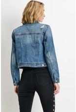 Beautiful Soul Dark Wash Distressed Denim Jacket