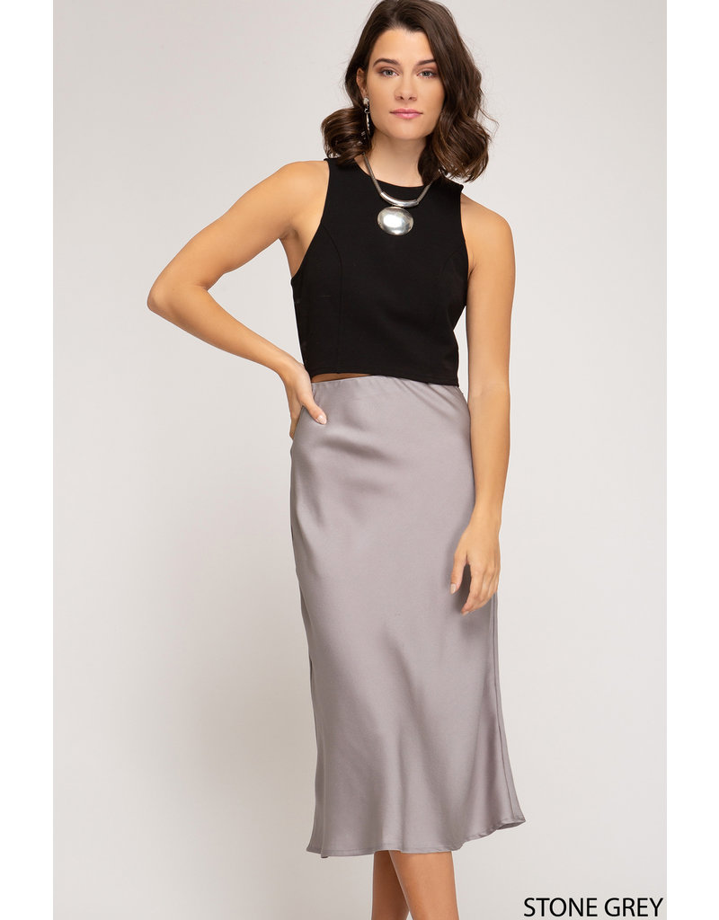 Sweetie Satin Midi Skirt