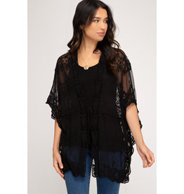 The Brand New Day Lace Crochet Kimono - Black