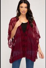The Brand New Day Lace Crochet Kimono - Black