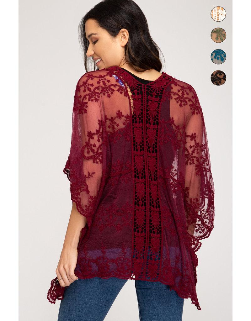 Brand New Day Lace Crochet Kimono - Black