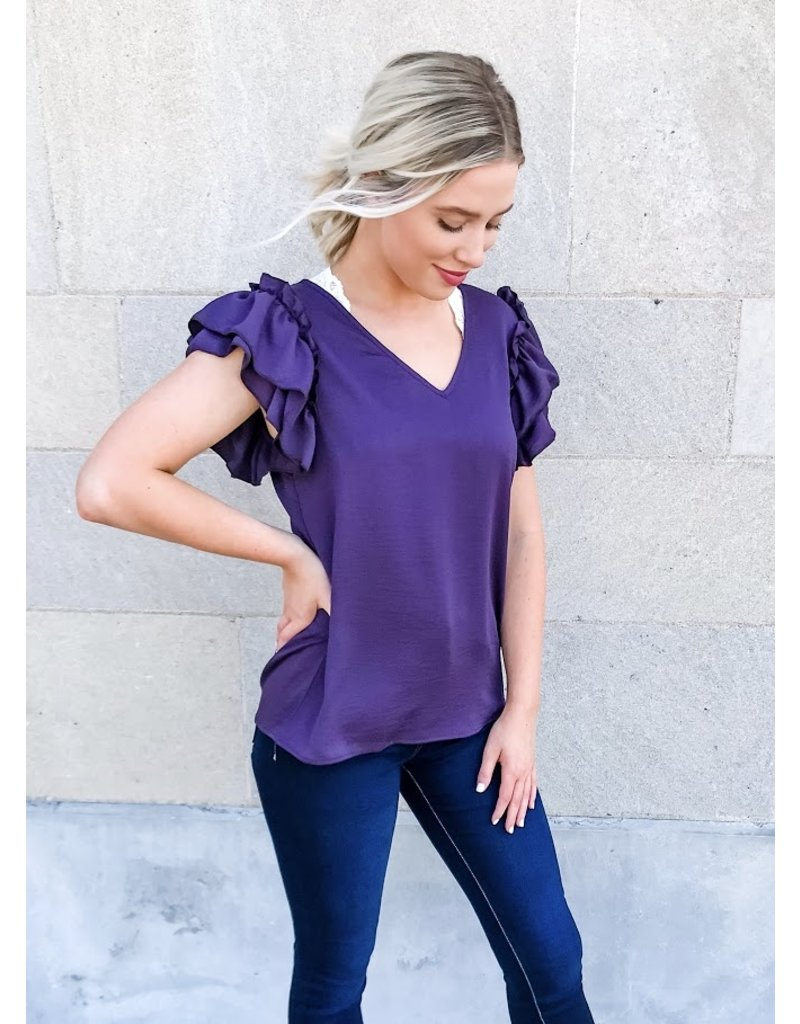 Picture Perfect Moments Ruffle Sleeve Top