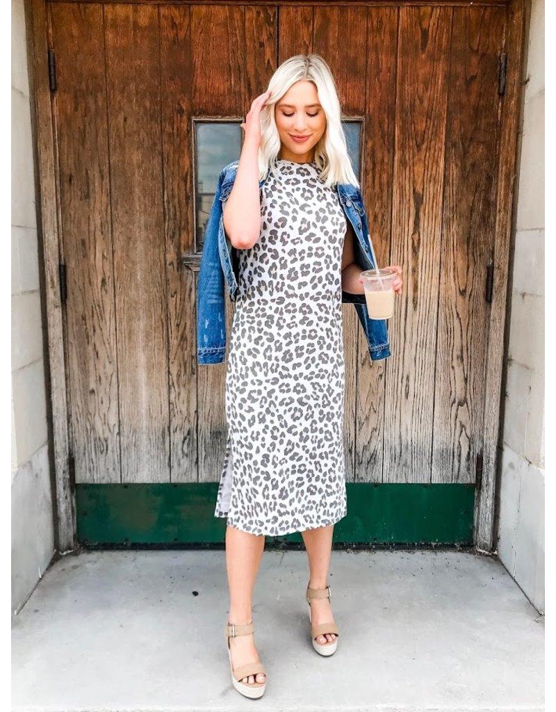 Keen Instincts Leopard Print Midi Dress