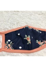 Kids Mask - Navy With Peach Floral