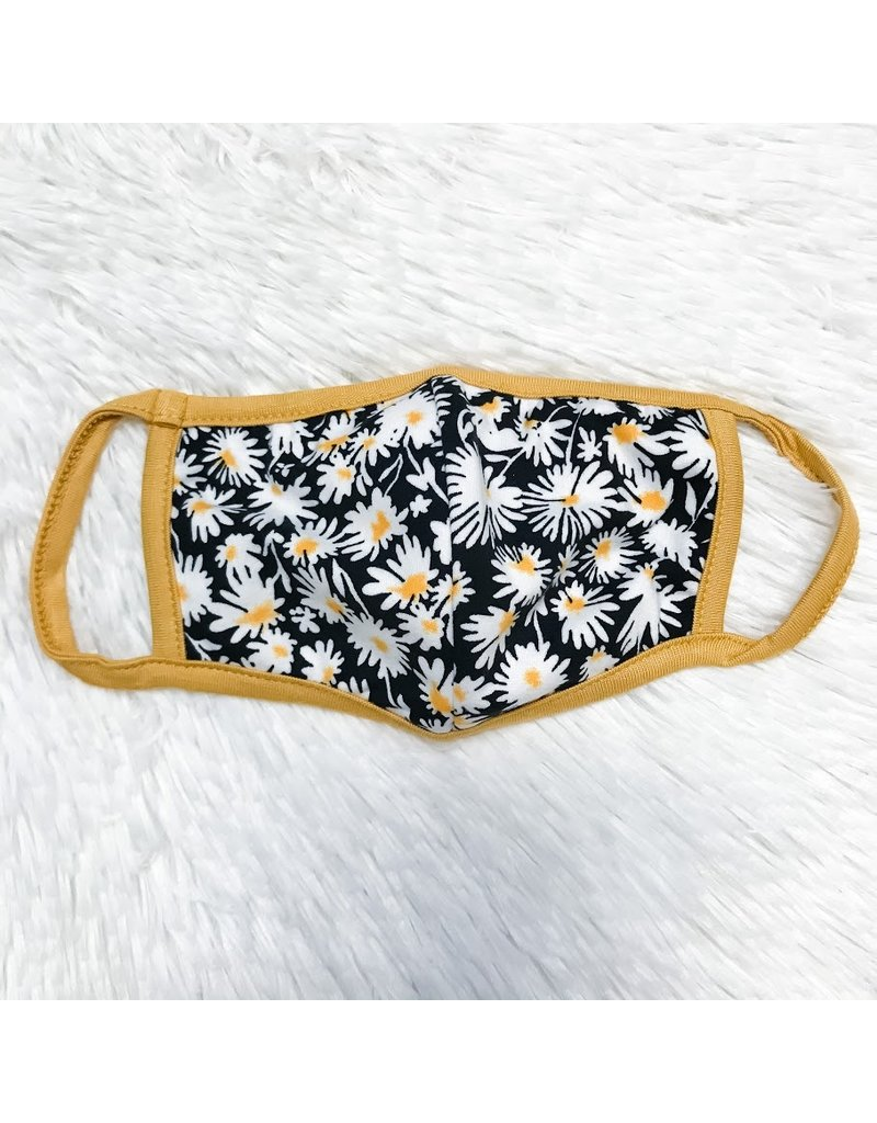 Kids Mask - Mustard And Black Floral