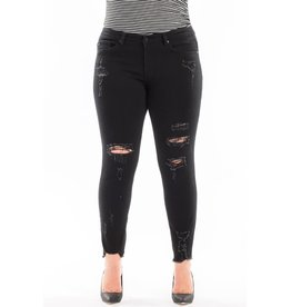 Outstanding Distressed Frayed Hem Skinny - Black