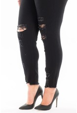 The Outstanding Distressed Frayed Hem Skinny - Black