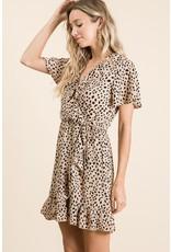 Valerie Spotted Leopard Print Faux Wrap Dress