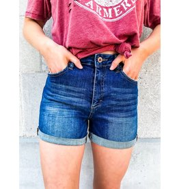 Just My Type Dark Wash High Rise Denim Shorts