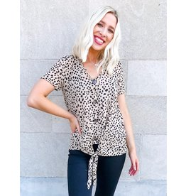 Taylor Spotted Leopard Print Button Up Top