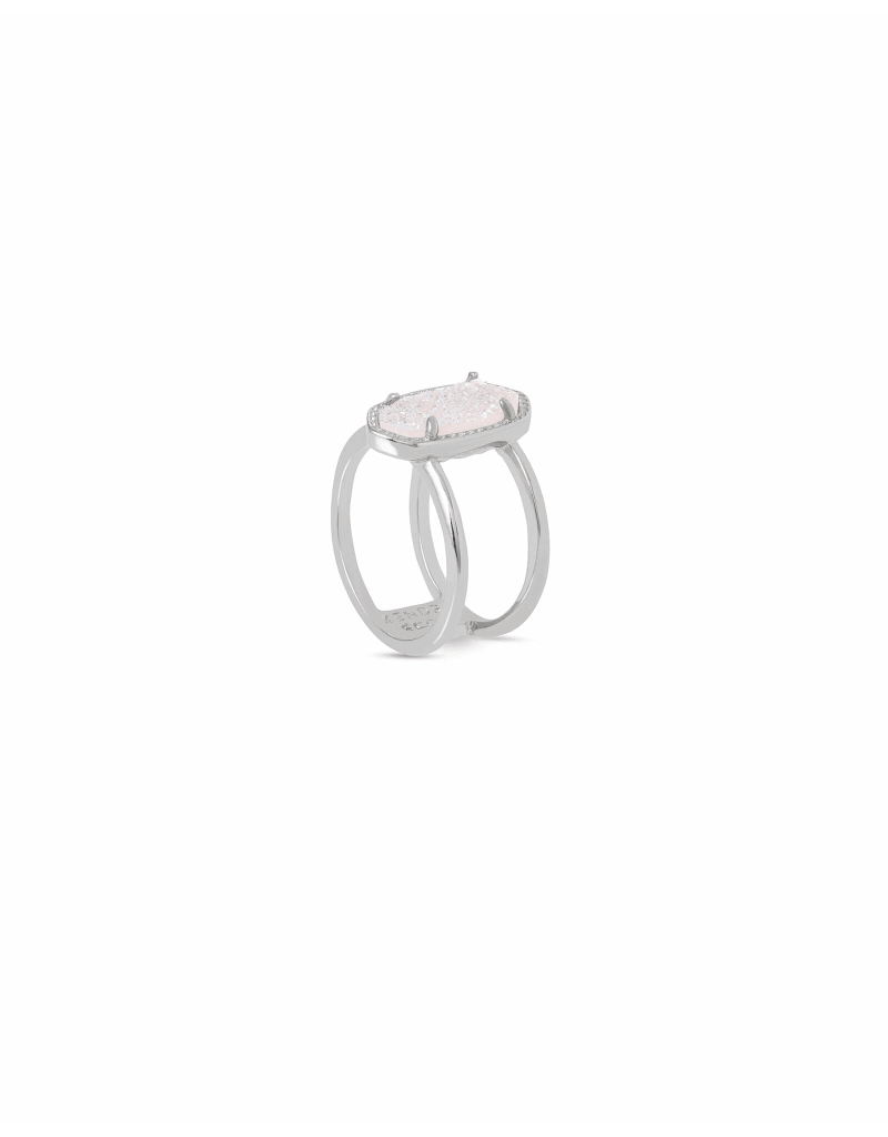 Kendra Scott Elyse Silver Ring In Iridescent Drusy