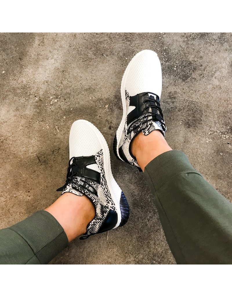 Qupid Move Your Feet Snake Print Sneakers