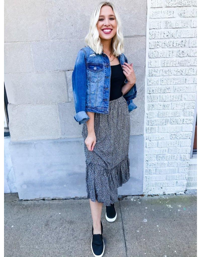 Artistic Muse Floral Print Midi Skirt