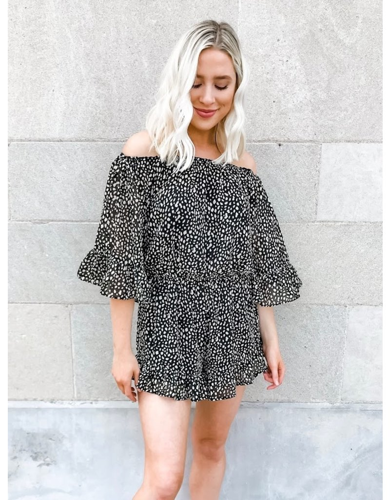 The Best Wishes Off The Shoulder Spotted Leopard Print Romper