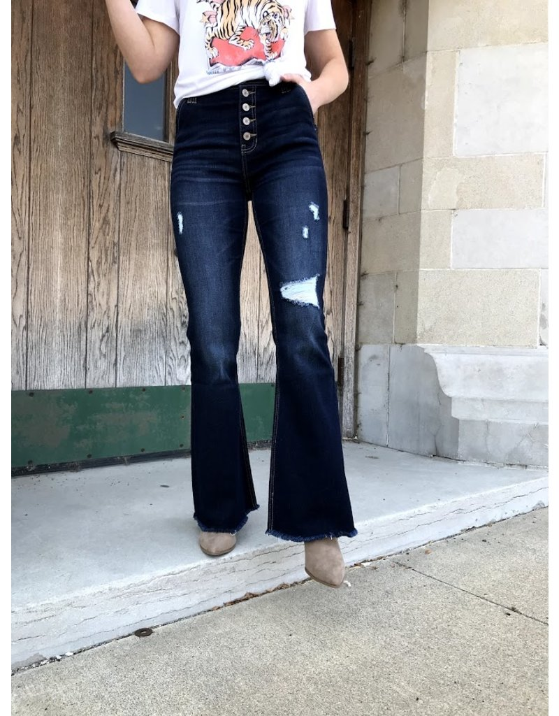 The 70's Baby Button Fly Flare Jeans - Dark Wash