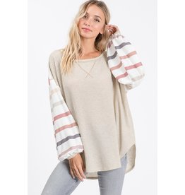 Chilly Day In Waffle Knit Top
