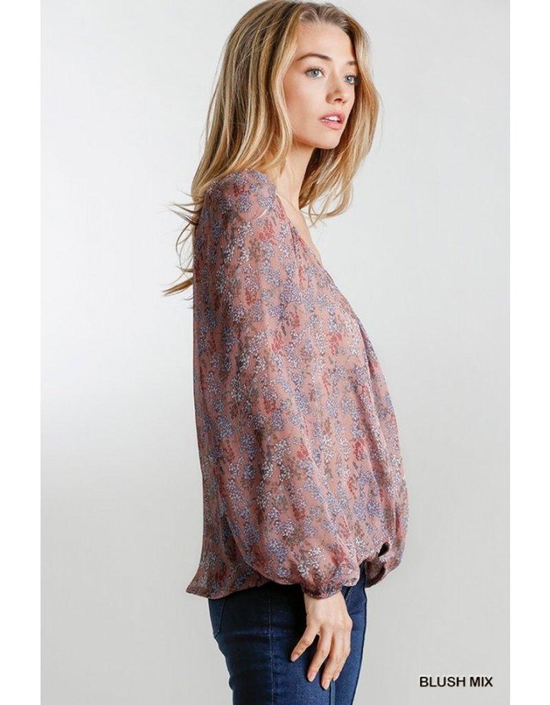 Sweetheart Sheer Floral Print Blouse