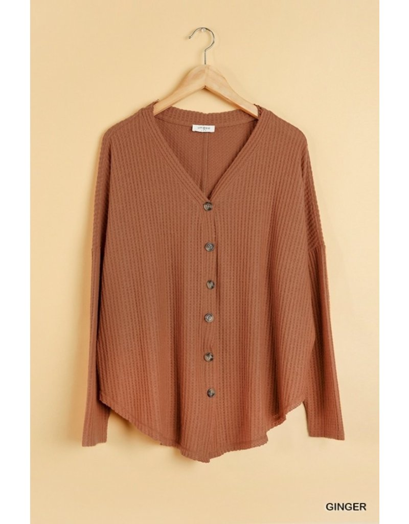 The Days Of Autumn Waffle Knit Top