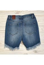 Piper High Low Hem Denim Shorts - Med Wash