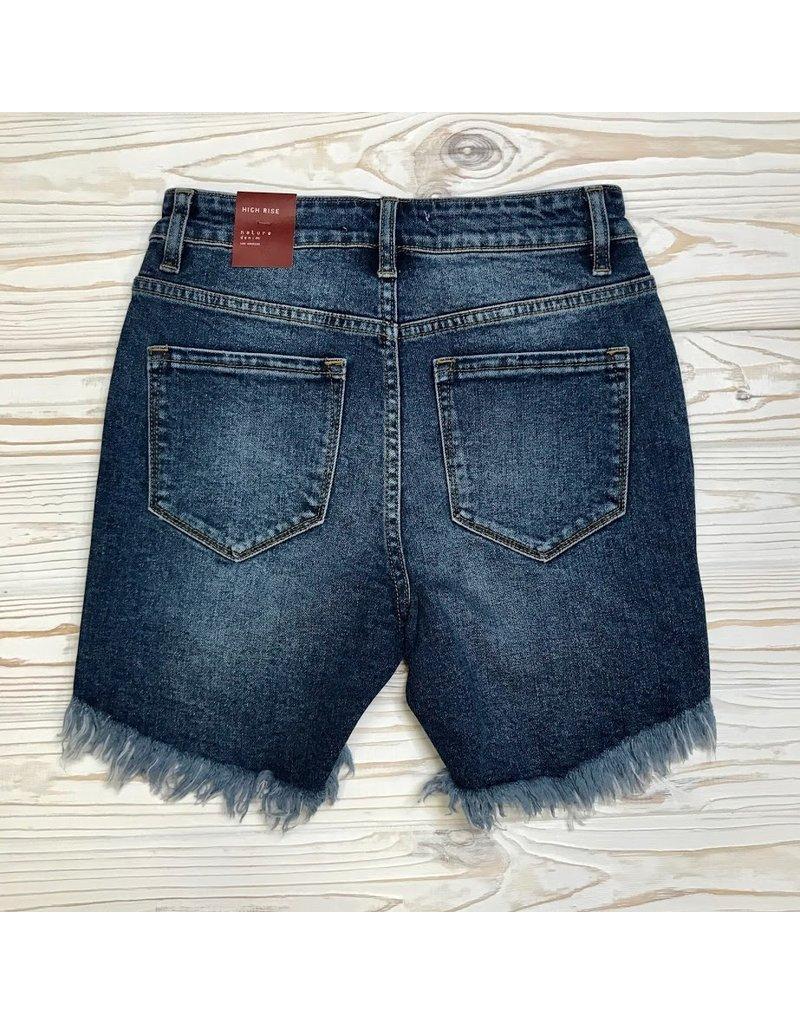 Piper High Low Hem Denim Shorts - Dark Wash