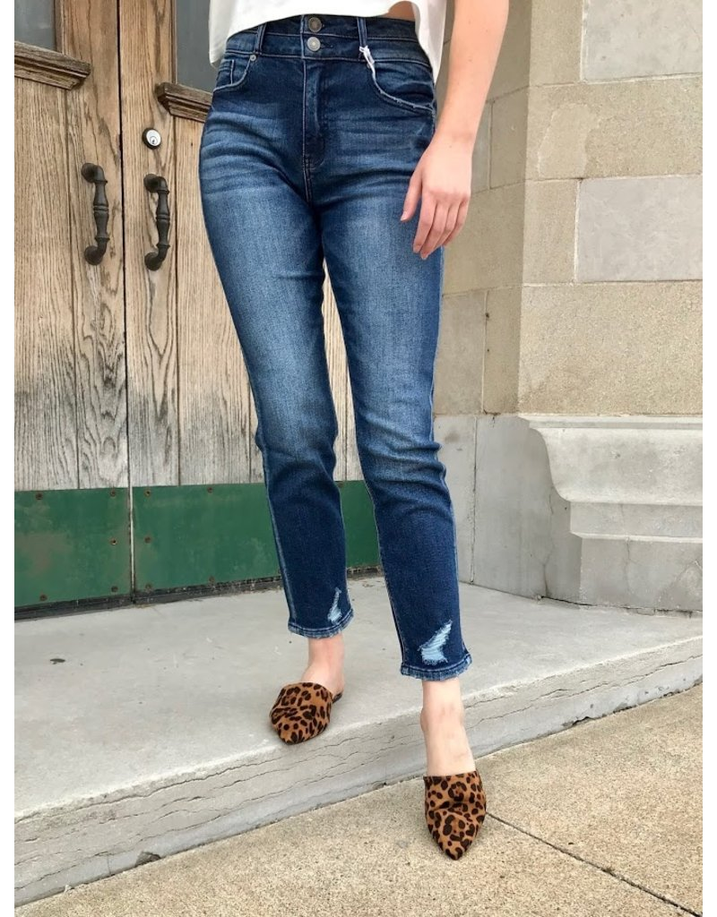 Daphne Two Button Straight Leg Jeans