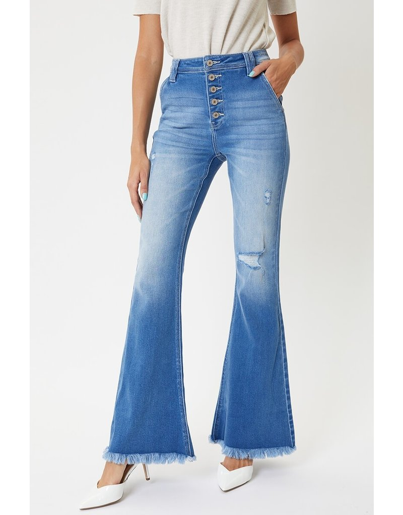 The 70's Baby Button Fly Flare Jeans - Medium Wash