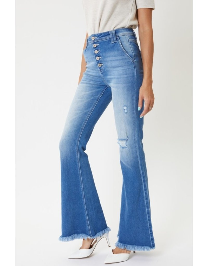 70's Baby Button Fly Flare Jeans - Medium Wash