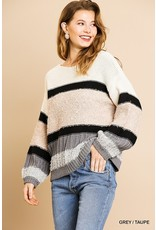 Umgee Fallin' For Neutrals Color Block Sweater