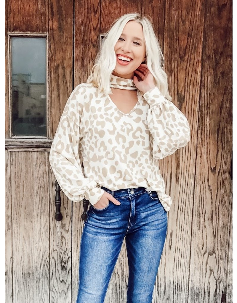 The Purr-Fection Leopard Balloon Sleeve Top