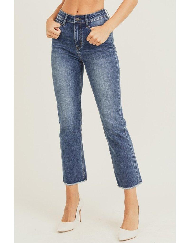 Risen Renewal Raw Hem Straight Leg Jeans