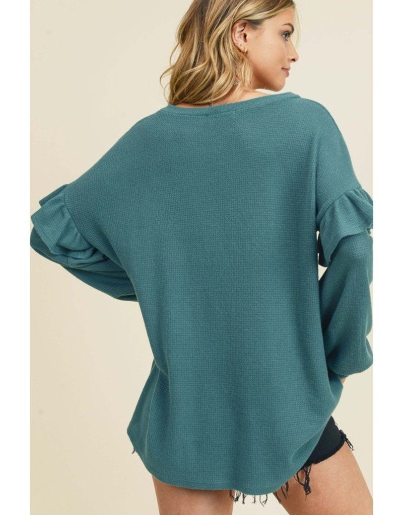 What About Love Ruffled Sleeve Top