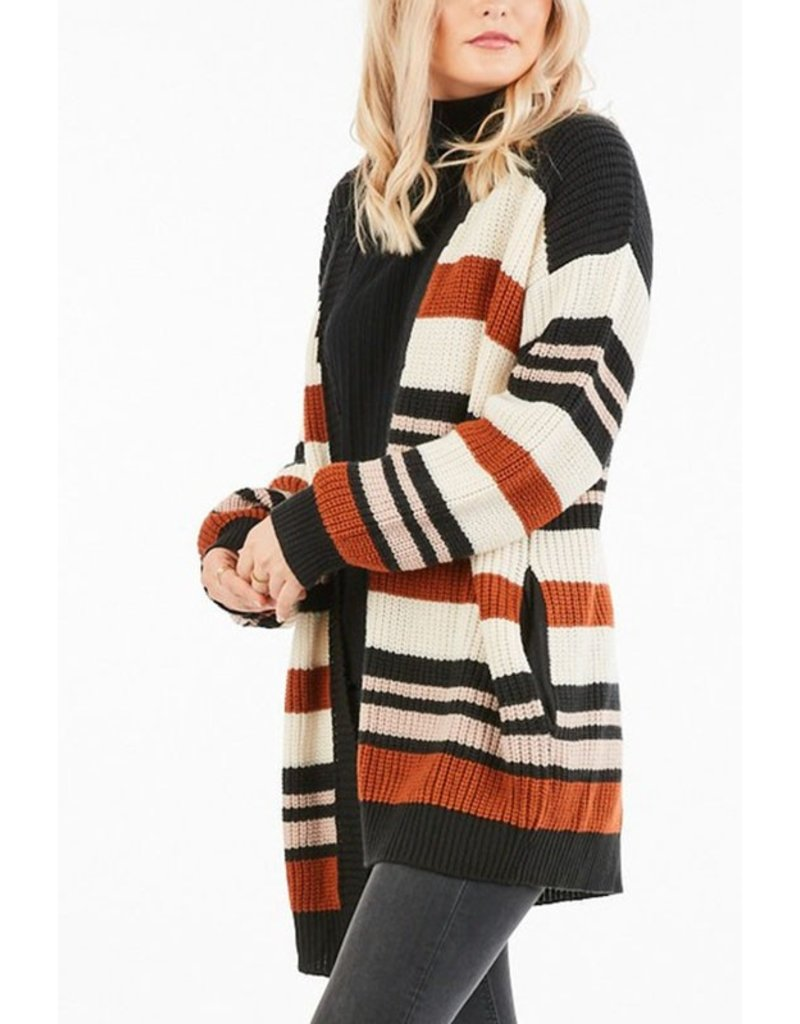 The Fall In Line Striped Cardigan